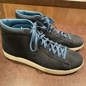 Converse navy leather high tops